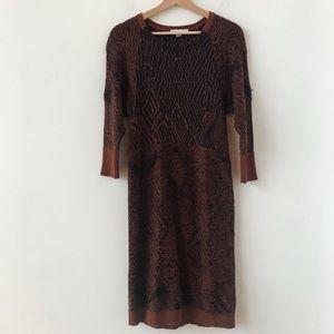 See by Chloe burnt orange and black knit dress